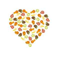 Fruits in heart vector