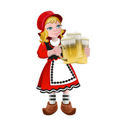 girl holding the beer glasses vector image