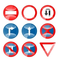 Glossy Road Signs set 01 vector image