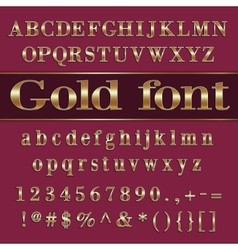 Gold coated alphabet letters and digits on purple vector