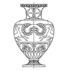 Greek hydria is painted in black or reddish brown vector