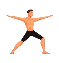 Handsome young man in various poses of yoga vector