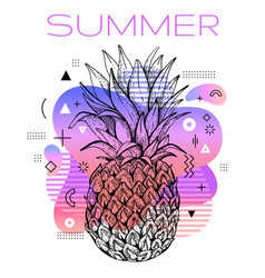 hello summer poster with hand drawn pineapple vector image