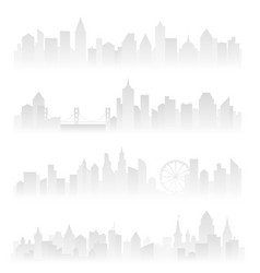 Horizontal header banners of foggy urban city with vector