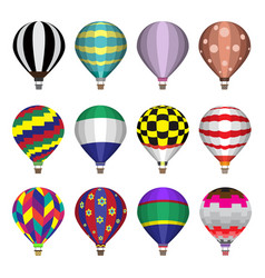 Hot air balloons flat icons vector