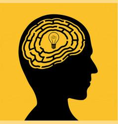 Human head with a maze and light bulb vector