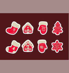 icon set of cute christmas things vector image