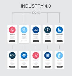 Industry 40 infographic 10 steps ui design vector