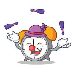 Juggling alarm clock mascot cartoon vector