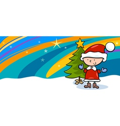kid on christmas cartoon greeting card vector image