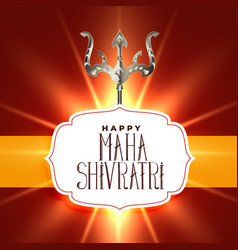 Lord shiva trishul on glowing shivratri background vector