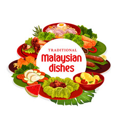 Malaysian cuisine dishes banner vector