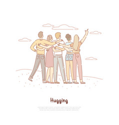 Male female friends hugging back view vector