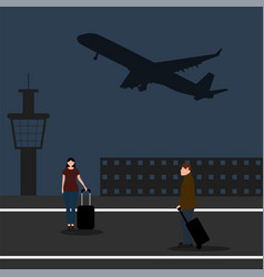 Man with woman tourists travelers with a suitcase vector