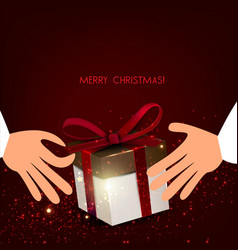 men s hands holding gift christmas vector image