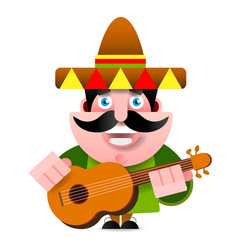 mexican in sombrero and guitar vector image