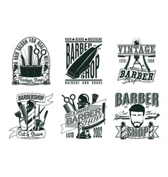 Monochrome vintage barber shop logos set vector