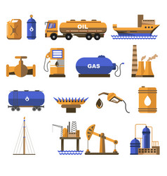 Natural gas and oil industry icons with petroleum vector