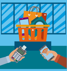 nfc technology payment and shopping vector image