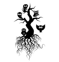 Old tree silhouettes with roots and owls vector