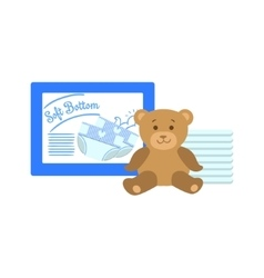 Pack Of Diapers And Bear vector image