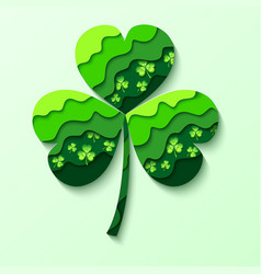 Paper cutting green shamrock isolated vector