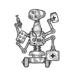 physician medical doctor robot sketch vector image