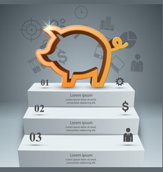 Pig money stair ladder - business infographic vector