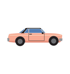 Pink retro coupe car isolated vector