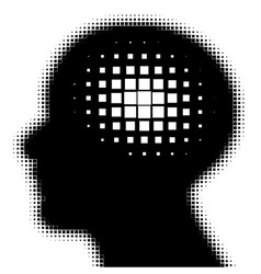 Pixeated profile with idea symbol vector