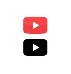 play button icon red button video play vector image