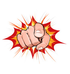 Pointing finger on explosion background vector