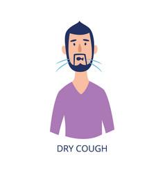 Portrait man having dry cough flat cartoon vector