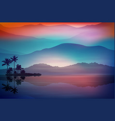 purple-blue background with sea and palm trees vector image vector image
