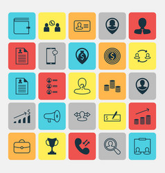 resources icons set collection of anonymous job vector image
