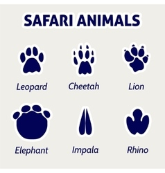 Safari animals footprint stickers vector