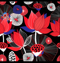 seamless bright floral background with red lotuses vector image