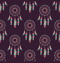 Seamless pattern with dream catchers vector