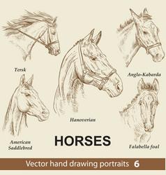 Set hand drawing horses 6 vector