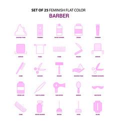 set of 25 feminish barber flat color pink icon set vector image