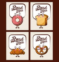 set of kawaii bread fresh cartoon vector image