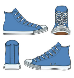 set with blue sneakers vector image