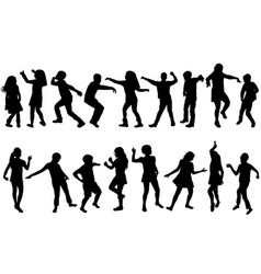 silhouettes children dancing vector image
