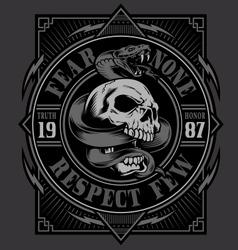skull with snake t-shirt design vector image