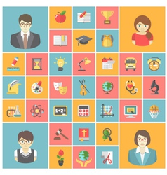 Square School Icons vector image vector image