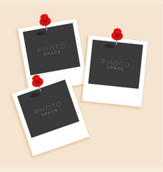 three old style photo frame vector image