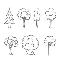 tree icons doodle trees symbols vector image