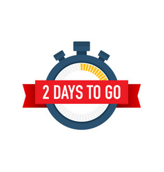 Two days to go time icon on white background vector