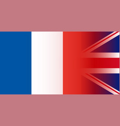 Uk and france flags in gradient superimposition vector