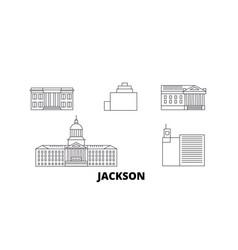 United states jackson line travel skyline set vector